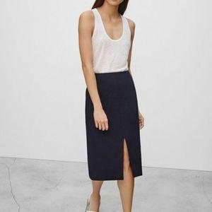 Babaton Linen Pencil Skirt Double Slit Black 0